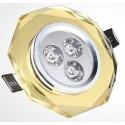 Spot encastrable 3 W CRYSTAL JAUNE - 230V - EXTRAPLAT