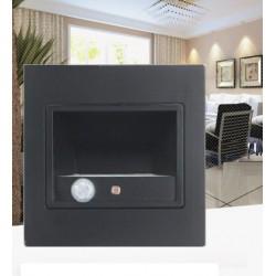 APPLIQUE MURALE LED SENSOR ESCALIER 1,5 W BLACK - 150 lumen -  à encastrer